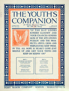 1924 Cover Youth's Companion Keep On Keepin' On Poem Quotation Roaring YYC5