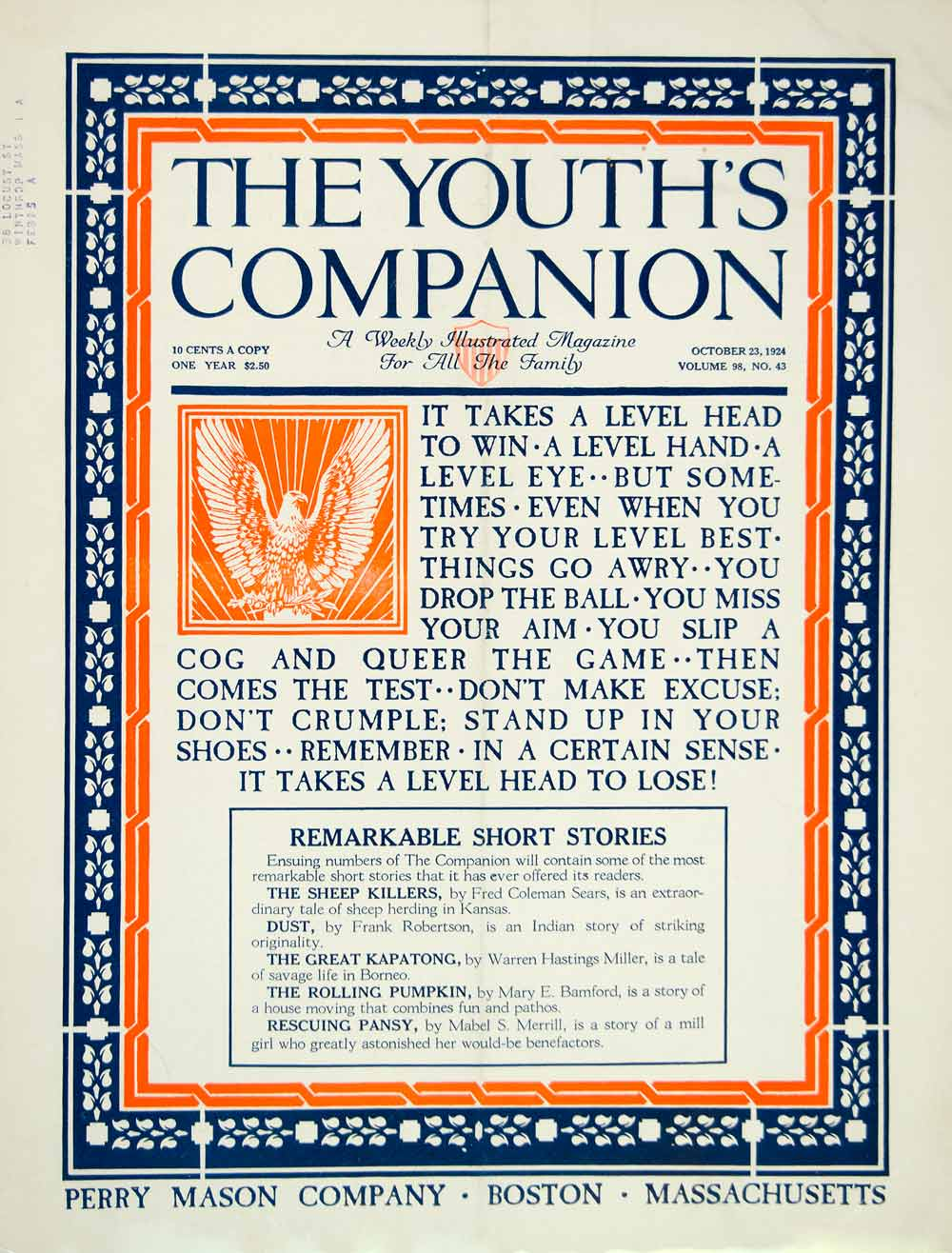 1924 Cover Youth's Companion Failure Quotation Roaring Twenties Era Perry YYC5