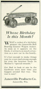 1924 Ad Ball Bearing Coaster Wagon Children's Toy Janesville WI Roaring YYC5