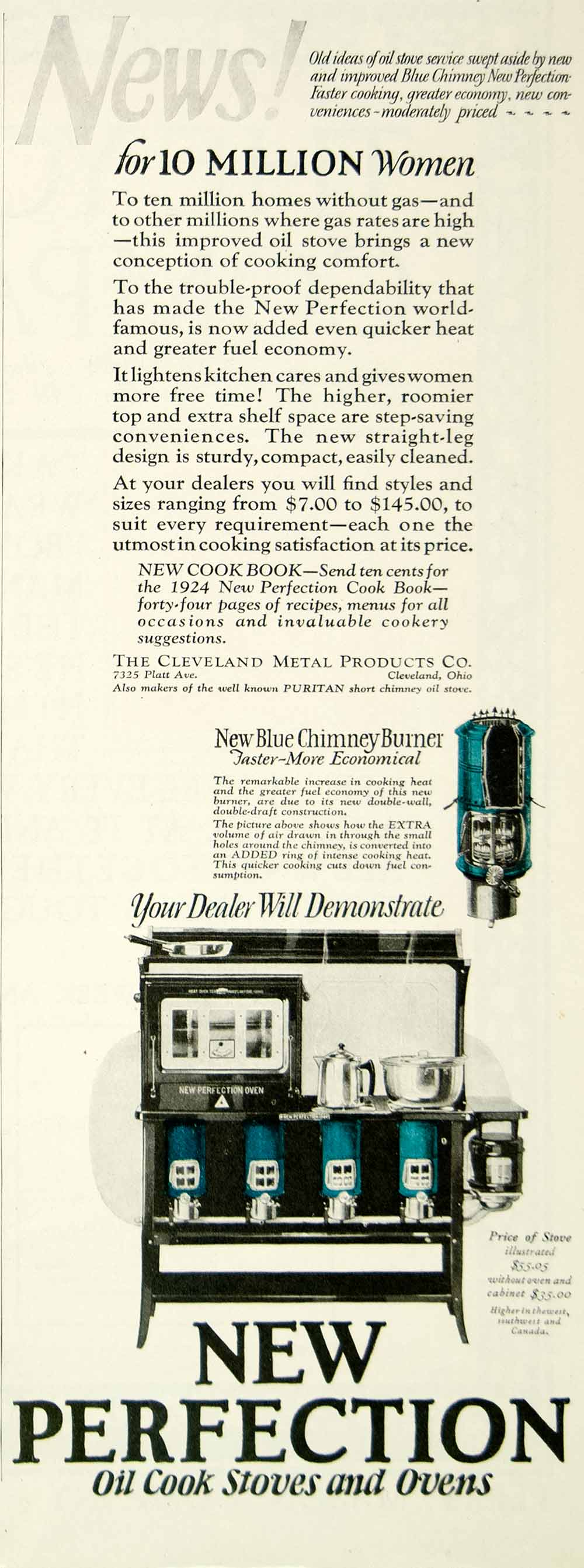 1924 Ad Cleveland Metal New Perfection Oil Stove Kitchen Appliance YYC5
