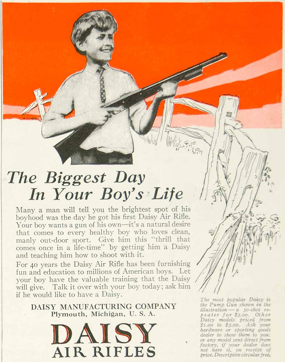 1925 Ad Daisy Air Rifle Pump Gun Children Toy Sporting Goods Hunting  Outdoor Boy