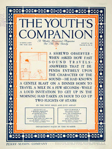 1925 Cover Youths Companion Sound Quotation Art Nouveau Roaring Twenties YYC6
