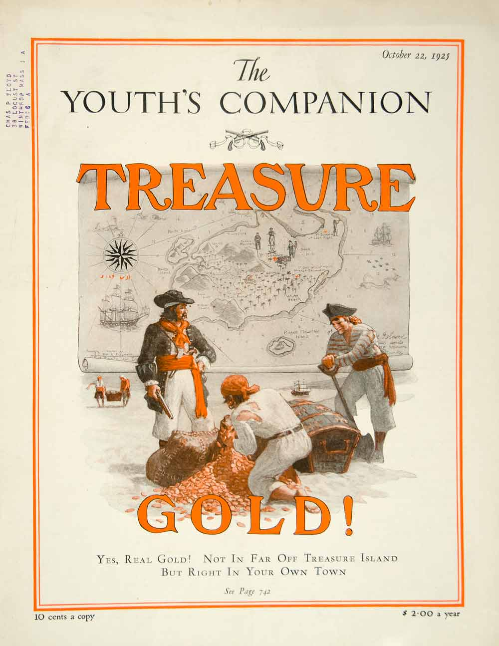 1925 Cover Youths Companion Pirate Treasure Map Art Buccaneer Privateer YYC6