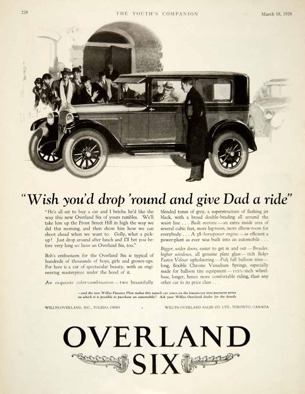1926 Ad Willys Overland Six Car Classic Automobile Transportation