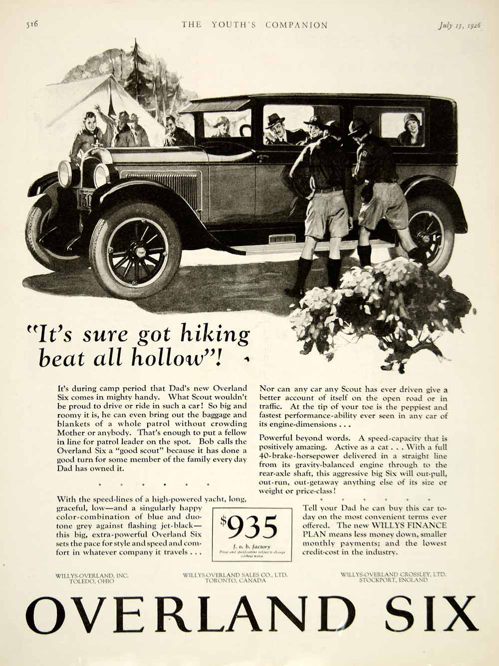 1926 Ad Willys Overland Six Car Automobile Boy Scout America