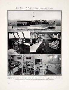 1927 Print Lone Star Express Houseboat Cruiser Yacht Ship Interior Nautical YYM1