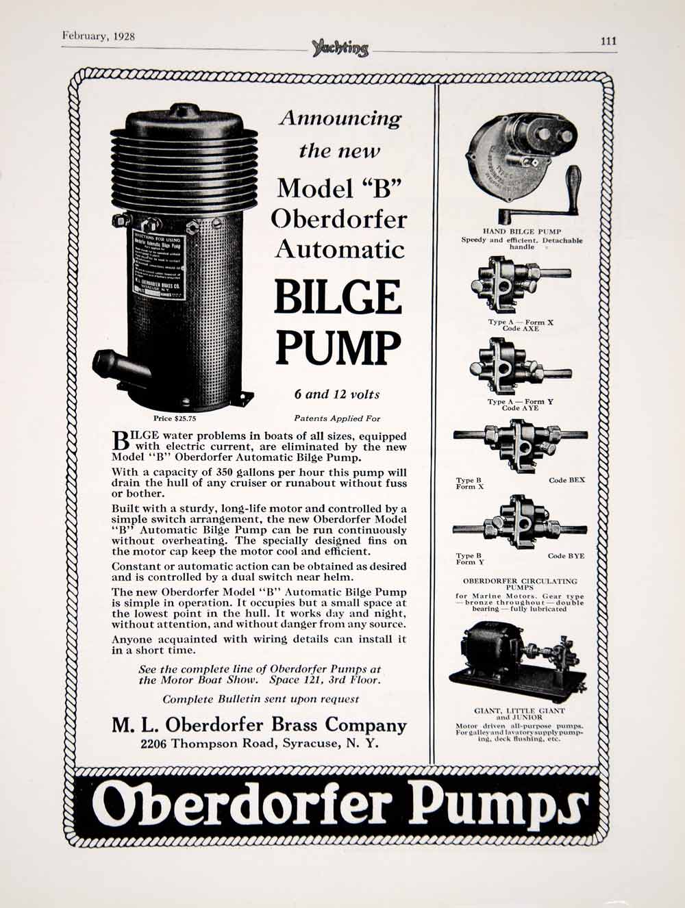 1928 Ad ML Oberdorfer Model B Automatic Bilge Pump Yacht Boat Parts Sailing  YYM2
