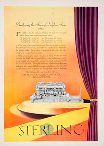 1928 Ad Sterling Engine Dolphin Model Marine Motor Yacht Boat Ship Nautical YYM2