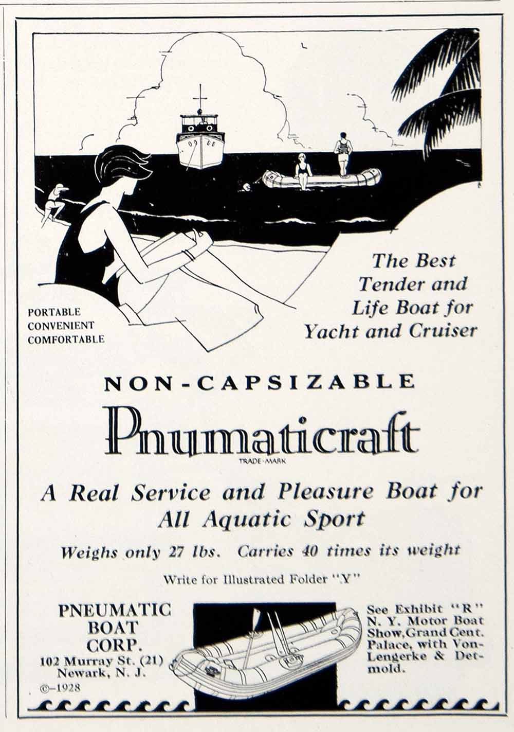 1928 Ad Pneumatic Lifeboat Pnumaticraft Art Deco Yacht Cruiser Ship Marine YYM2