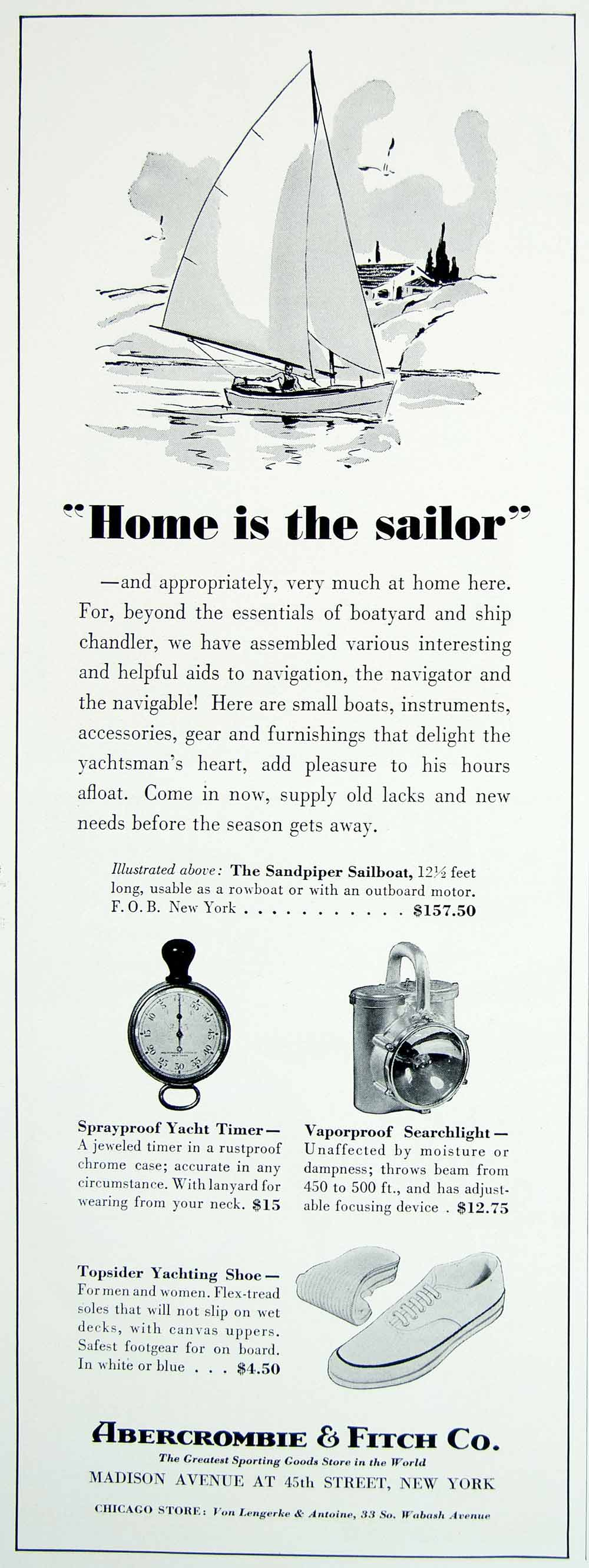 1938 Ad Vintage Abercrombie & Fitch Sandpiper Sailboat Yacht Boat Equipment  YYM4