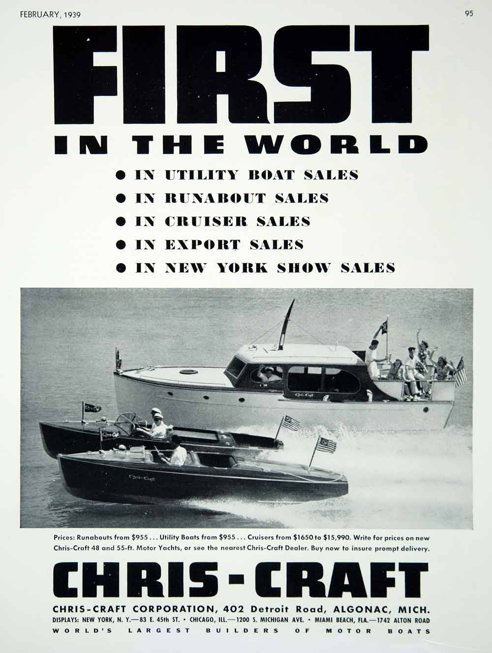 Vintage Advertising Art Tagged Boats Marine Page 3 Period Paper Chris Craft Model A Engine Diagram 1939 Ad Utility Runabouts Cruisers Motor Yachts Algonac Mich
