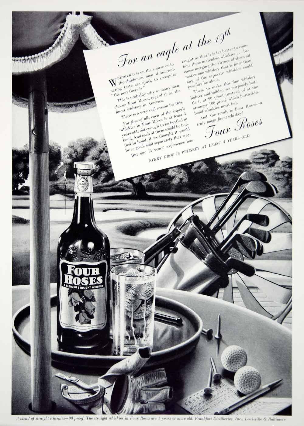 1939 Ad Vintage Four Roses Whiskey Golf Clubs Golfing 19th Hole Alcohol Whisky