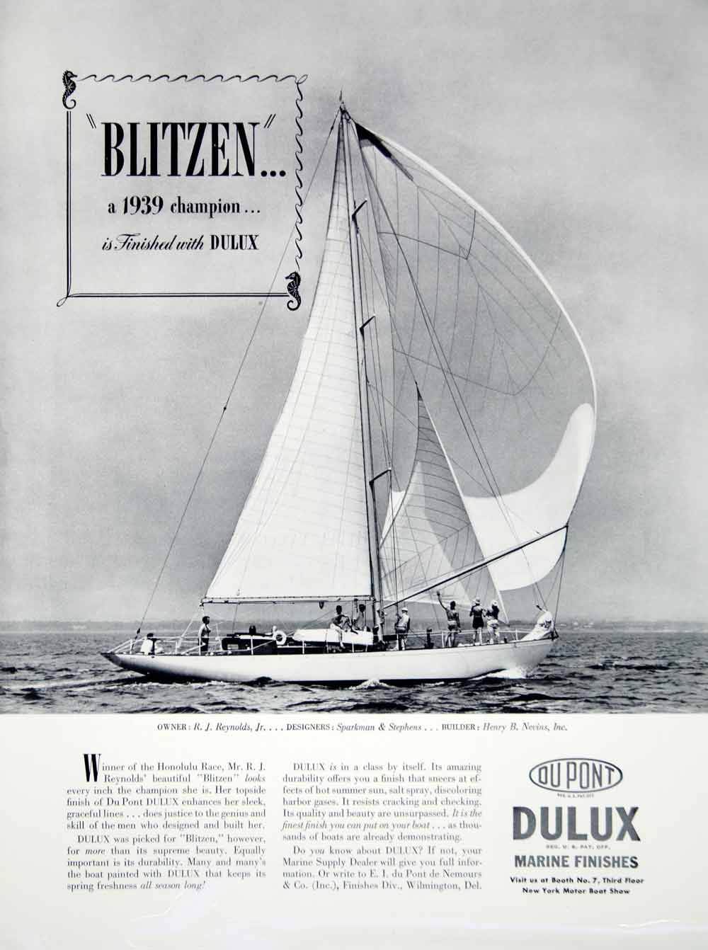 1940 Ad DuPont Dulux Marine Finishes Blitzen Yacht Paint R. J. Reynolds Sailboat