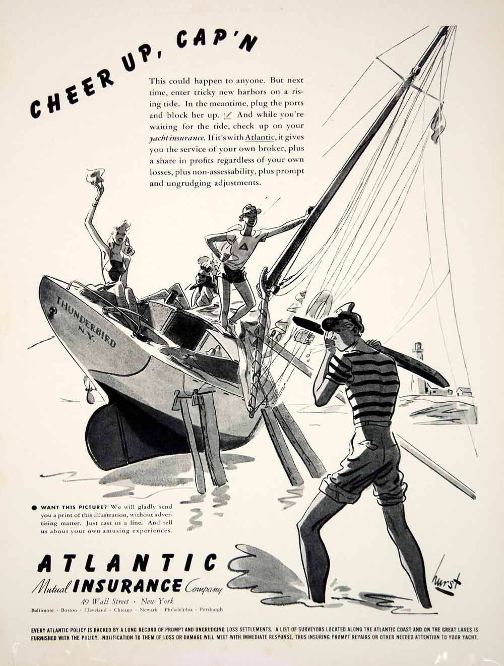 1940 Ad Atlantic Mutual Insurance Yacht Boat Policy Earl Oliver Hurst Cartoon