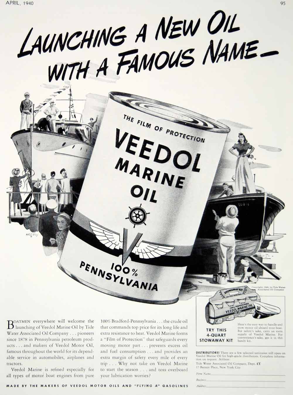 1940 Ad Vintage Veedol Marine Oil Tide Water Motor Boat Rolf Klep Cartoon Art