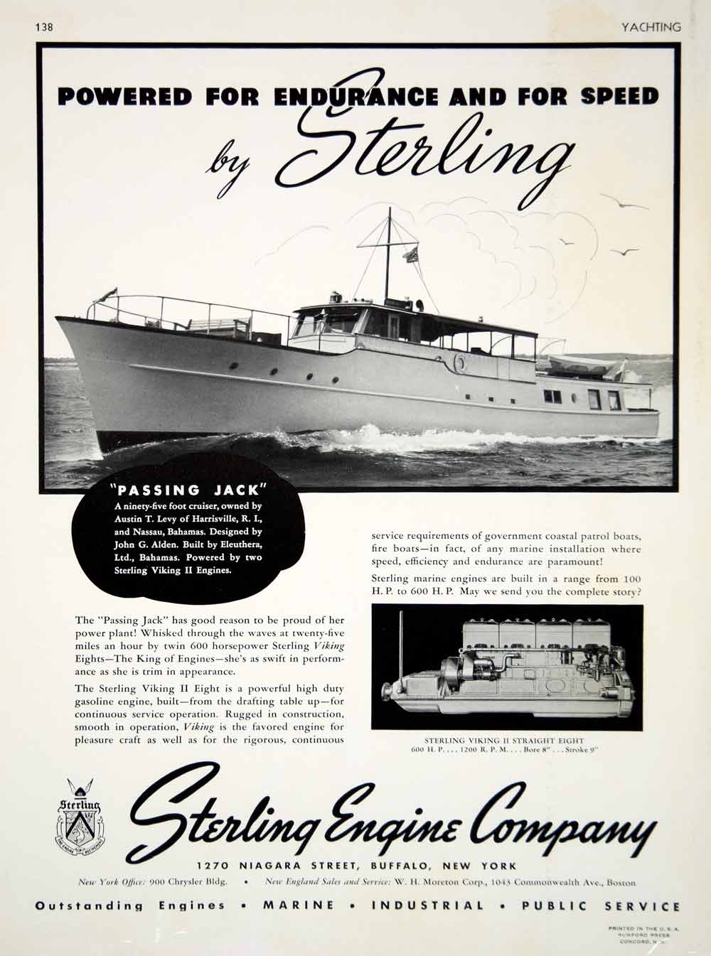 1940 Ad Sterling Viking II Eight Marine Engine Passing Jack Cruiser Austin  Levy