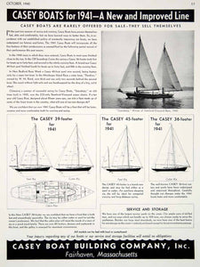 1940 Ad Casey Sailboats 1941 Models Boat Yawl Soerabaja Racing Fairhaven Mass.