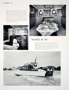 1939 Print Alice B III Chris Craft Yacht Boat Interior George O'Dea Des Moines