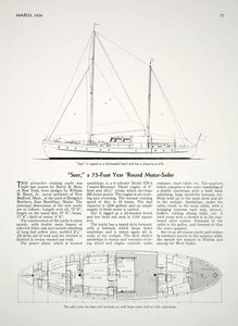 1939 Article Seer Cruising Yacht Sailboat William Hand Cabin Plan Harry B Hess