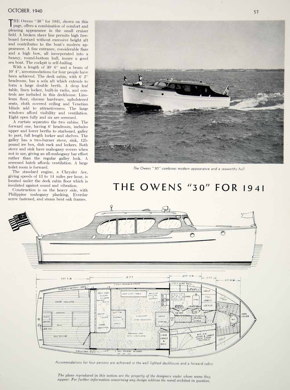1940 article owens 30 small motor cruiser yacht cabin plan profile 1940 article owens 30 small motor cruiser yacht cabin plan profile diagram boat ccuart Gallery