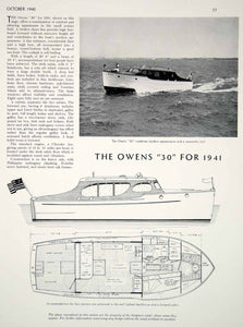1940 Article Owens 30 Small Motor Cruiser Yacht Cabin Plan Profile Diagram Boat