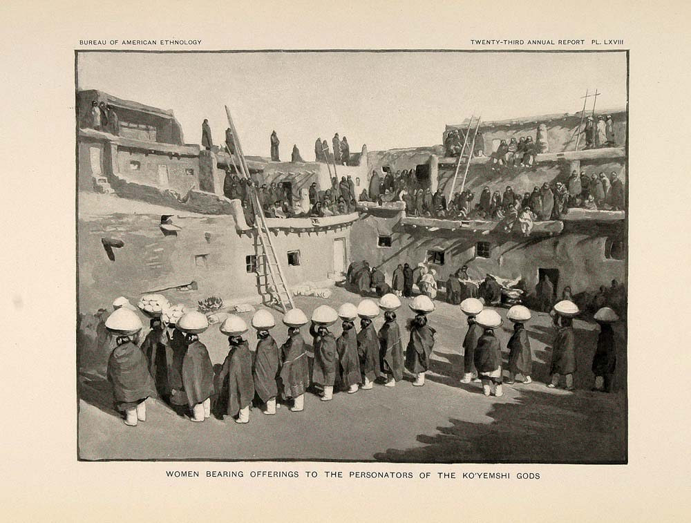 1904 Print Zuni Indian Women Offerings Koyemshi Gods - ORIGINAL HISTORIC ZN1