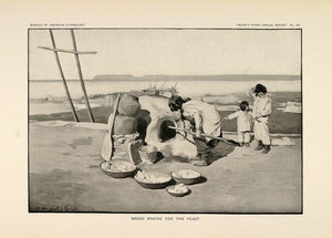 1904 Print Zuni Pueblo Woman Baking Bread Adobe Oven - ORIGINAL HISTORIC ZN1