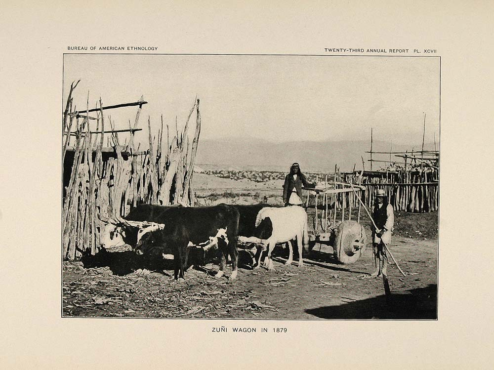1904 Print Zuni Pueblo Indian Wagon Cattle Yoke 1879 - ORIGINAL HISTORIC ZN1