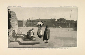 1904 Print Zuni Hashiya Dancers Scalp Pole Custodian - ORIGINAL HISTORIC ZN1