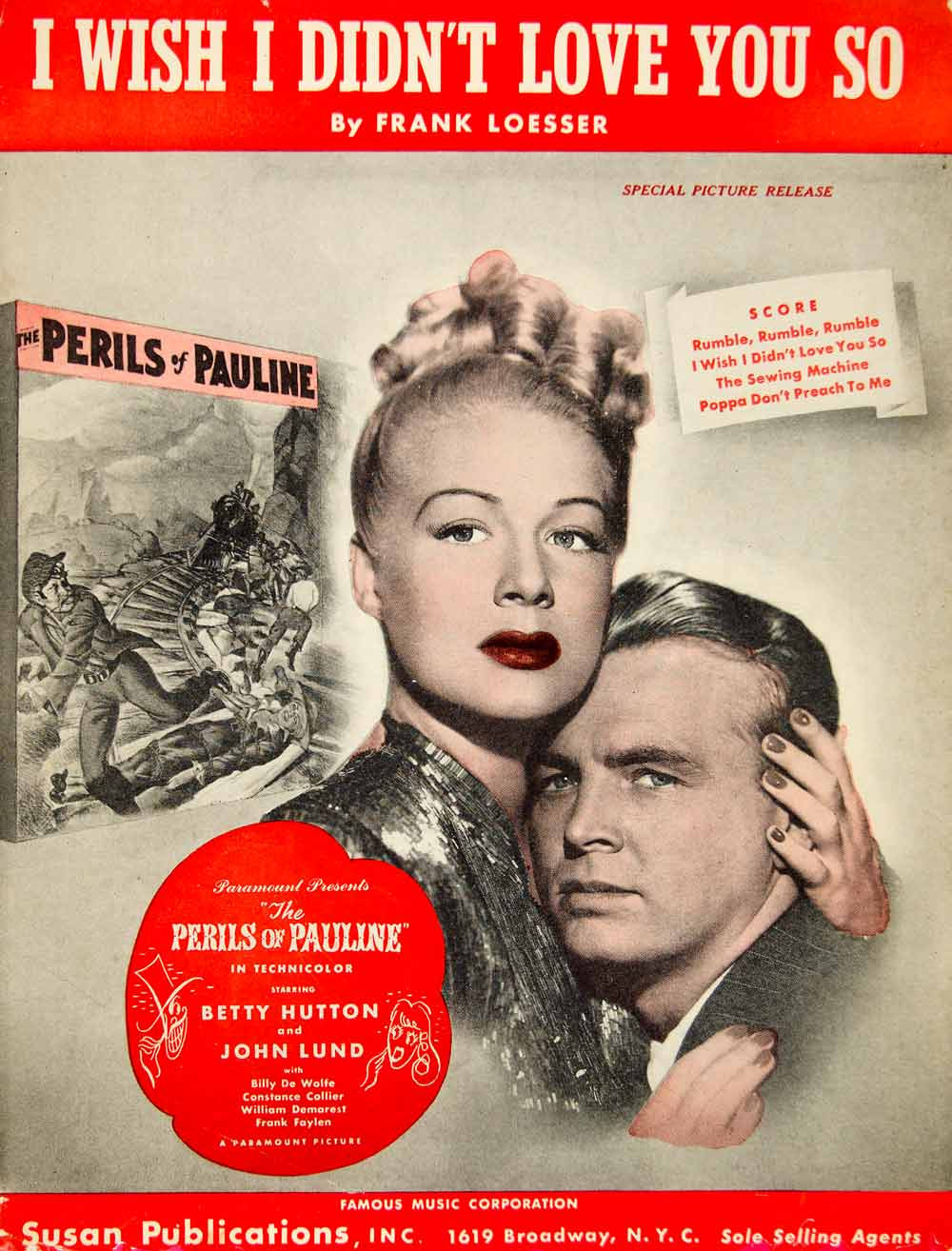 1947 Sheet Music I Wish I Didn't Love You So Perils of Pauline Film Betty ZSM1