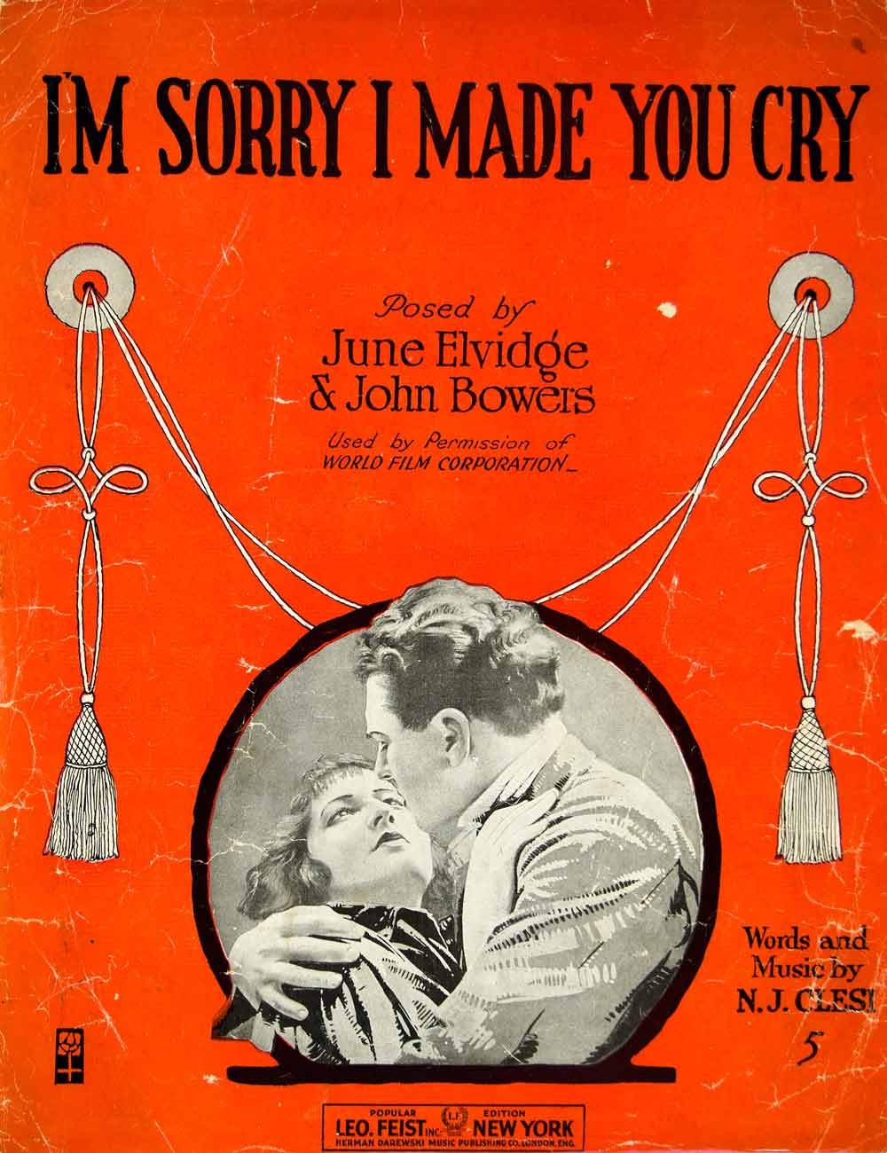 1918 Sheet Music I'm Sorry I Made You Cry June Elvidge John Bowers Silent ZSM2