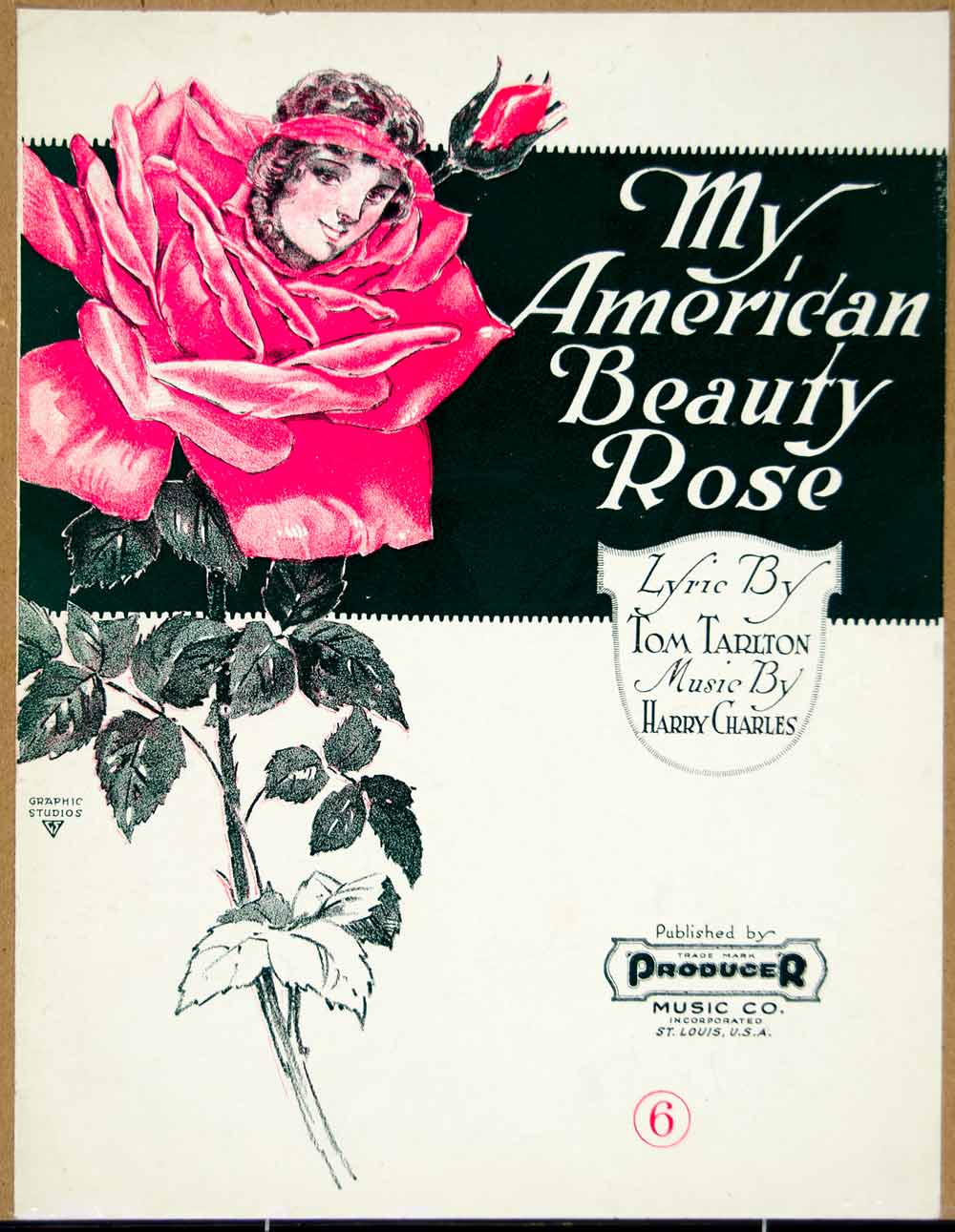 1920 Sheet Music My American Beauty Rose Song Tom Tarlton Lyrics Harry ZSM3