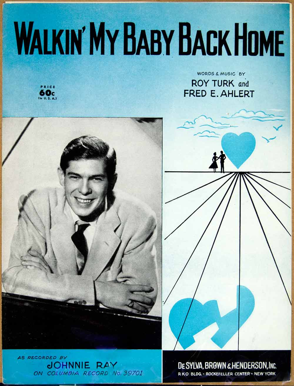 1952 Sheet Music Walking' My Baby Back Home Johnnie Ray Roy Turk Fred E ZSM4