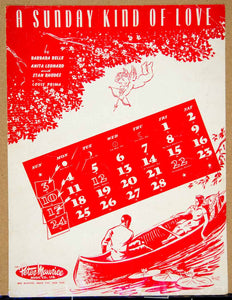 1947 Sheet Music A Sunday Kind of Love Lovers Song Canoe Romance Cupid ZSM4