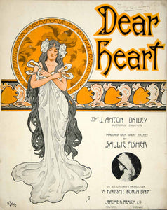 1908 Sheet Music Dear Heart Art Nouveau Lady J. Anton Dailey Sallie Fisher ZSM7
