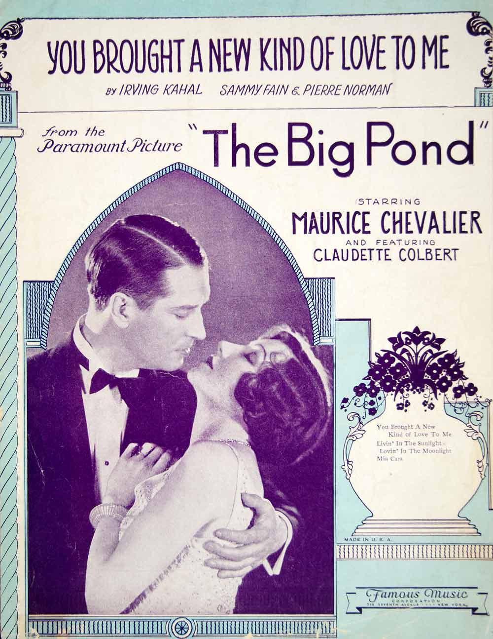 1930 Sheet Music You Brought a New Kind of Love to Me Big Pond Movie Song ZSM8