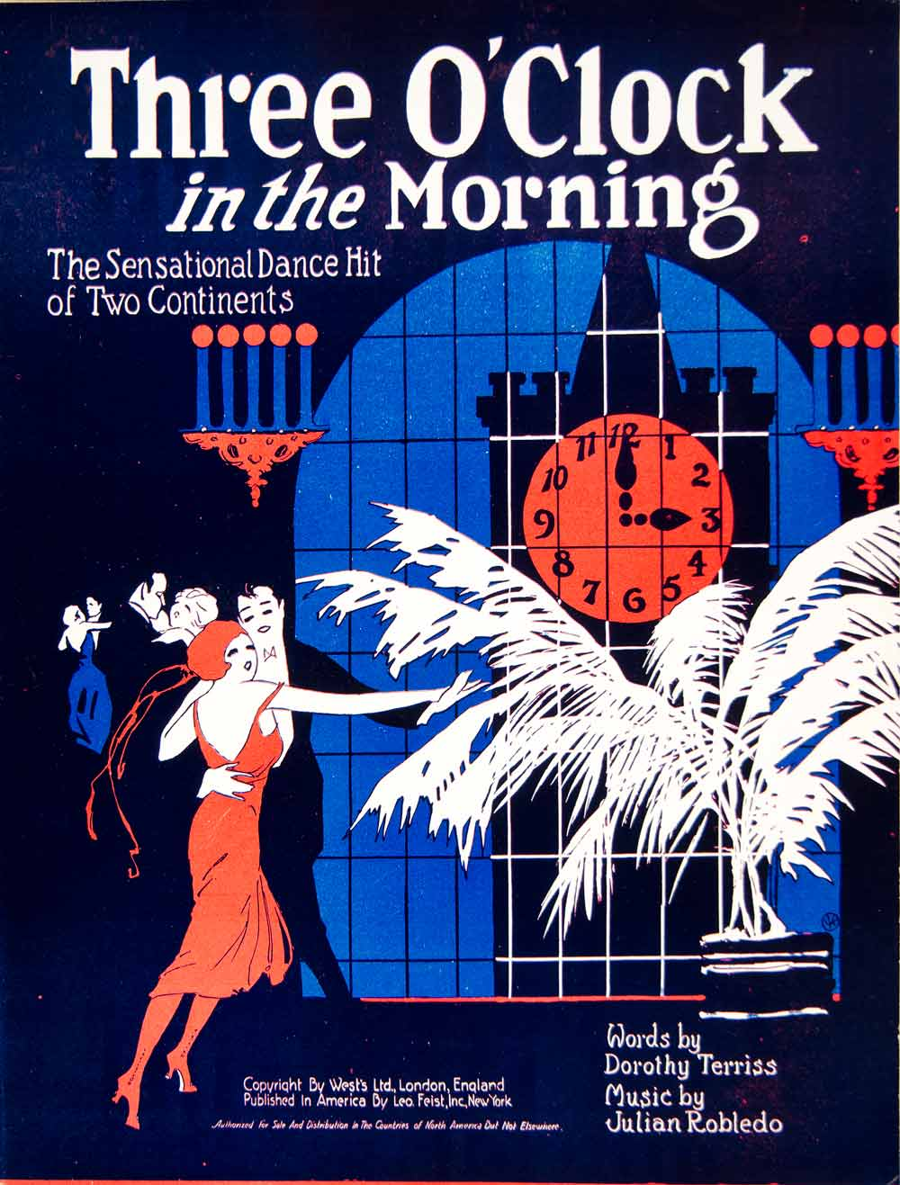 1922 Sheet Music Three O'Clock in the Morning Waltz Dance Dorothy Terriss ZSM1