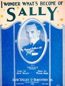 1924 Sheet Music I Wonder What's Become of Sally Al Jolson Vintage Song ZSMA1