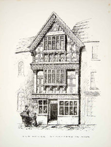 1872 Lithograph ER Blatchley Art Timber House High St Stratford-upon-Avon ZZ11