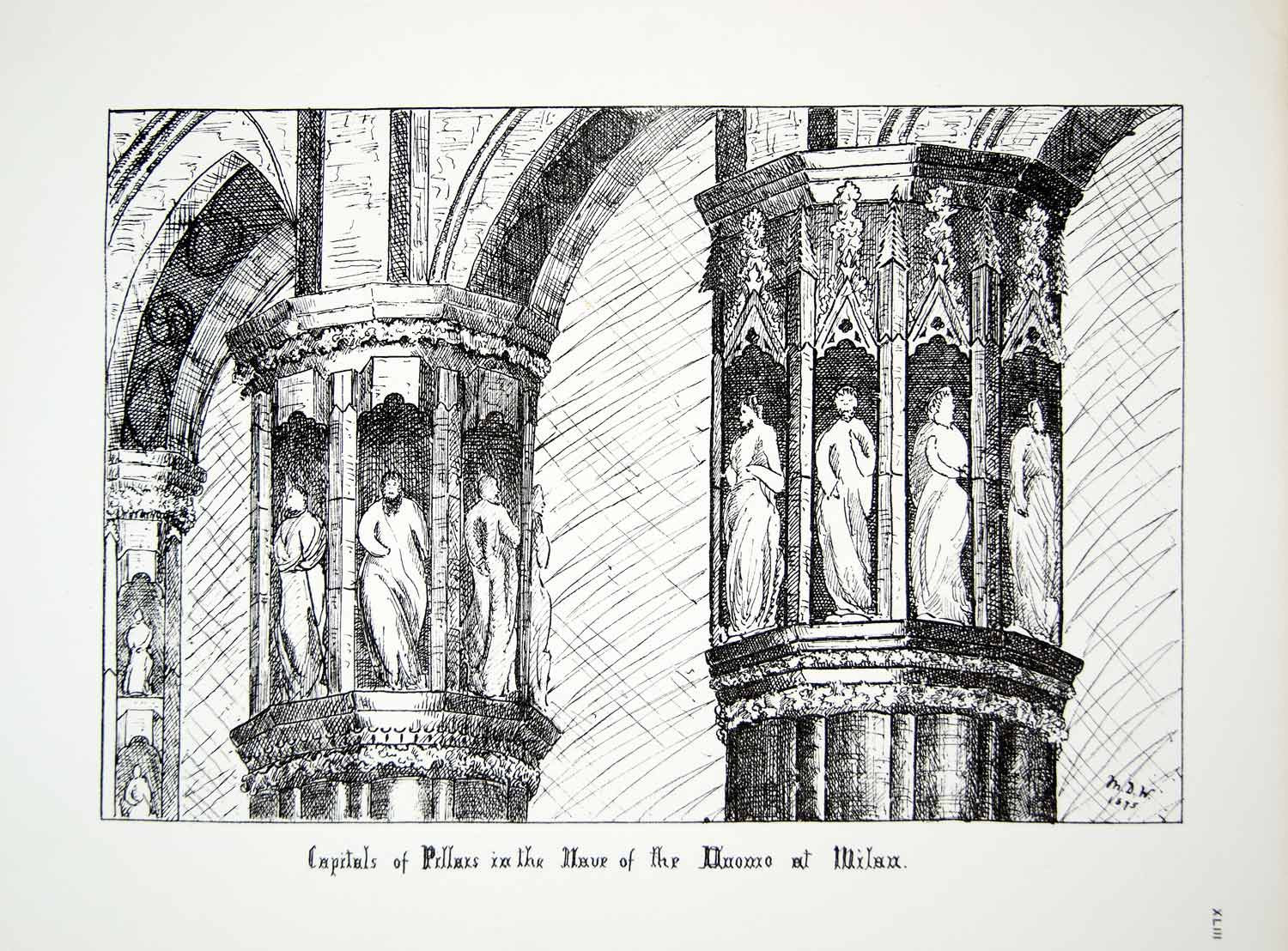 1876 Lithograph Wright Art Capital Pillar Nave Milan Cathedral Architecture ZZ13