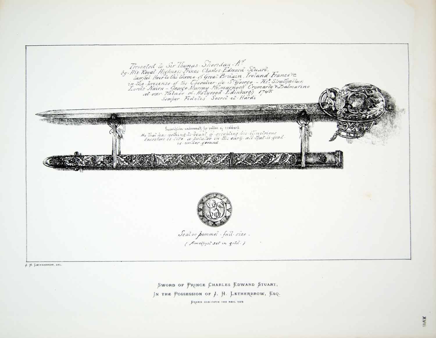 1877 Lithograph JH Letherbrow Art Sword Prince Charles Edward Stuart Weapon ZZ14
