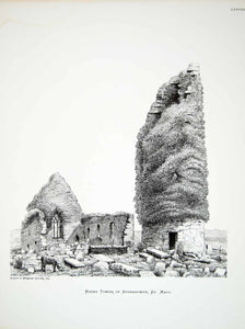 1877 Lithograph Margaret Cather Art Round Tower Aughagower Ireland Celtic ZZ14