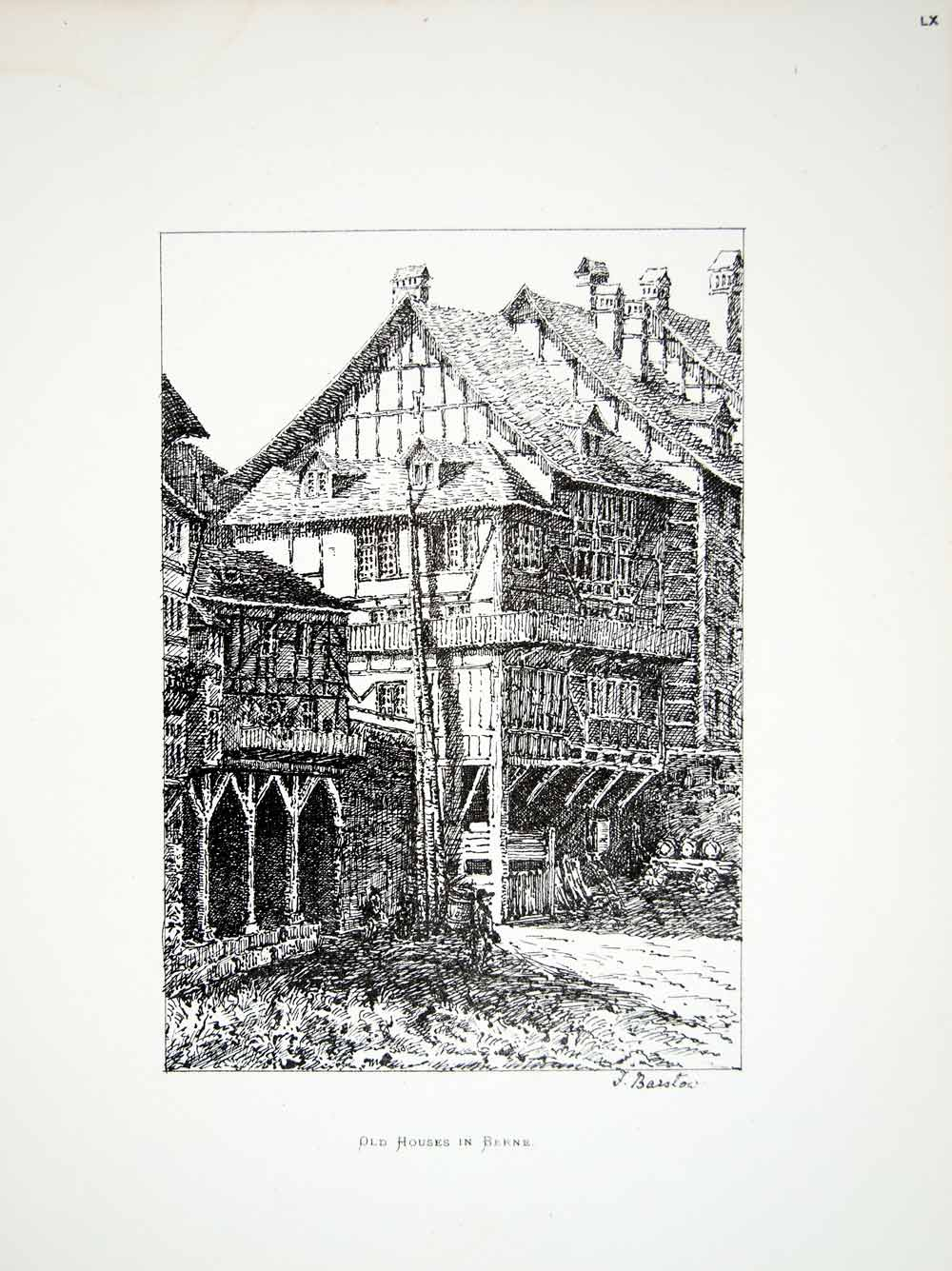 1877 Lithograph Flora Barstow Art House Bern Switzerland Europe Cityscape ZZ14