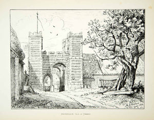 1879 Lithograph MA Walter Art Dandelion Castle Isle Thanet England Medieval ZZ16