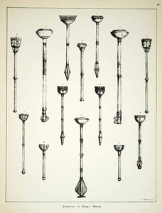 1879 Lithograph Llewellynn Jewitt Art Ceremonial Maces England Wales UK  ZZ16