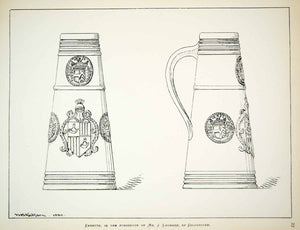 1880 Lithograph WB Redfarn Art English Canette Drink Tankard Cup Household ZZ17