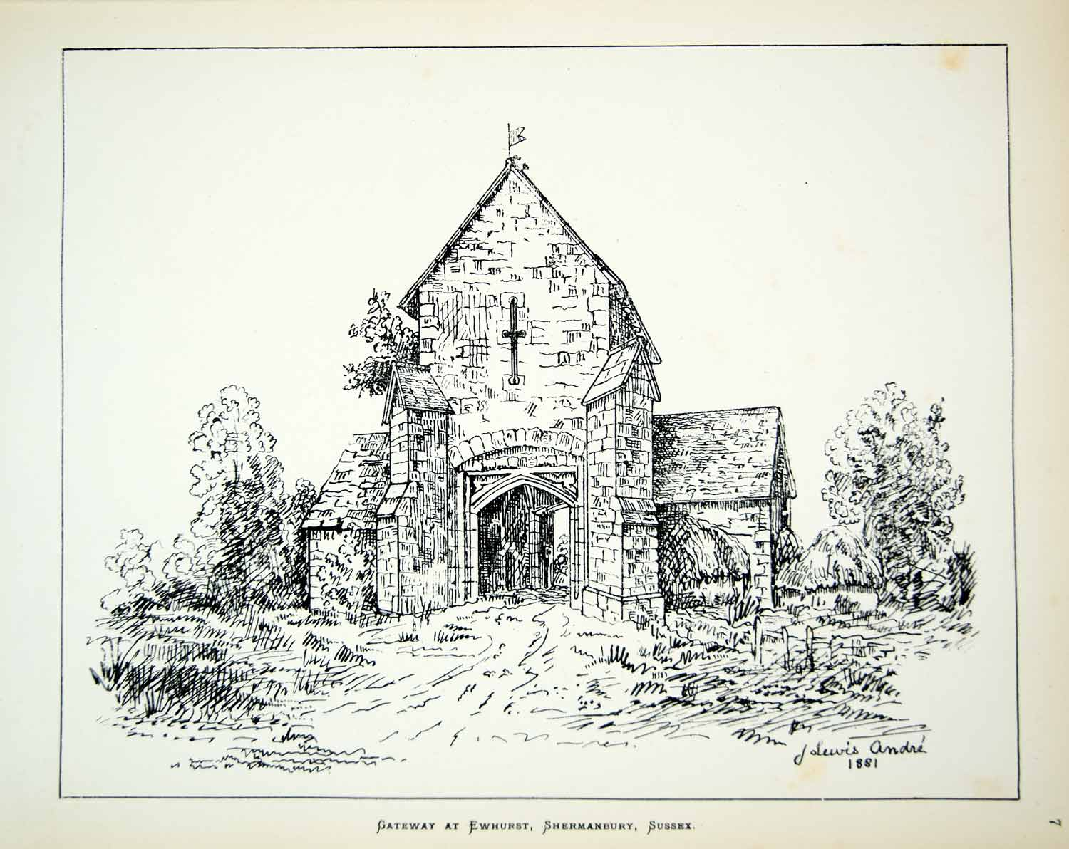 1881 Lithograph J Lewis Andre Art Gate Ewhurst Manor Shermanbury England UK ZZ18