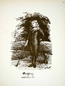 1881 Lithograph HE Grace Art Godfrey William Portrait Child England Fishing ZZ18