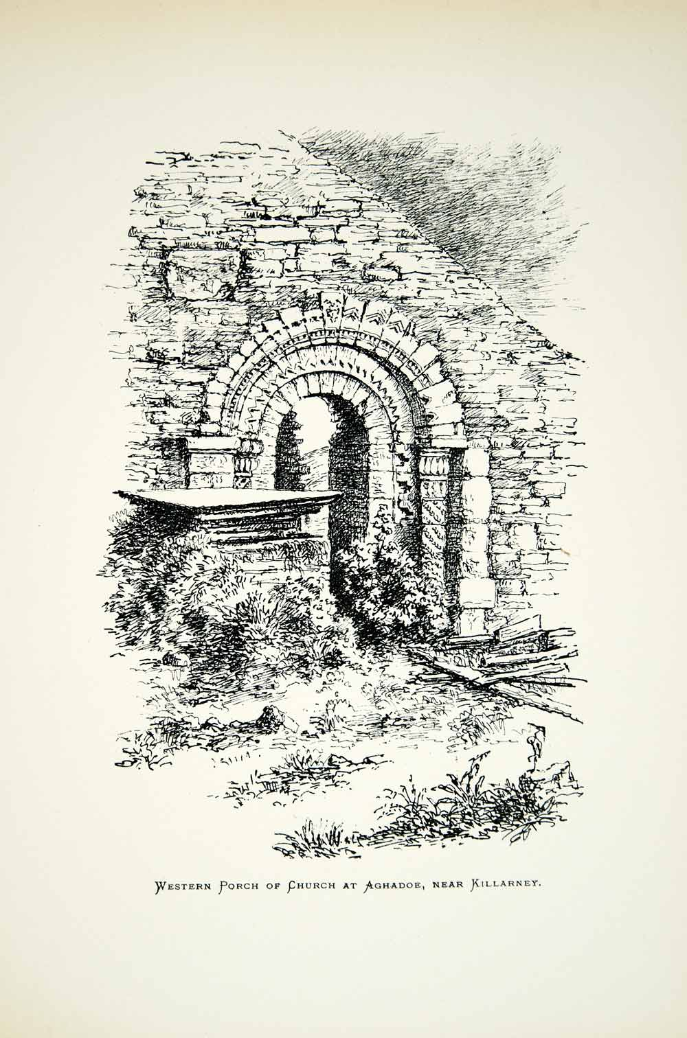 1882 Lithograph D Waters Art Aghadoe Cathedral Kilarney Ireland Archaeology ZZ19