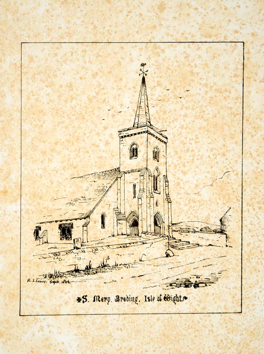 1856 Lithograph J Jones Art St Marys Church Brading Isle of Wight Medieval ZZ1